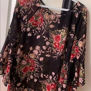 Sheer floral dress top